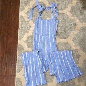 H&M blue striped jumpsuit